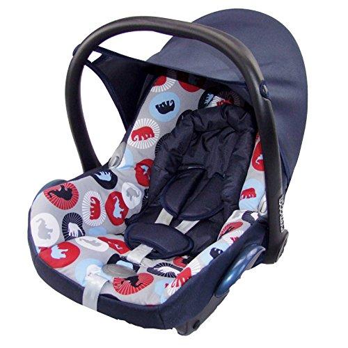 BAMBINIWELT Ersatzbezug für Maxi-Cosi Cabrio Fix 6-tlg, Bezug für Babyschale, Sommerbezug MARINE + ELEPHANTEN