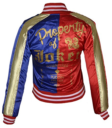 FWL Suicide Squad Harley Quinn Satin Bomber Jacket for Women (MEDIUM) Red & Blue
