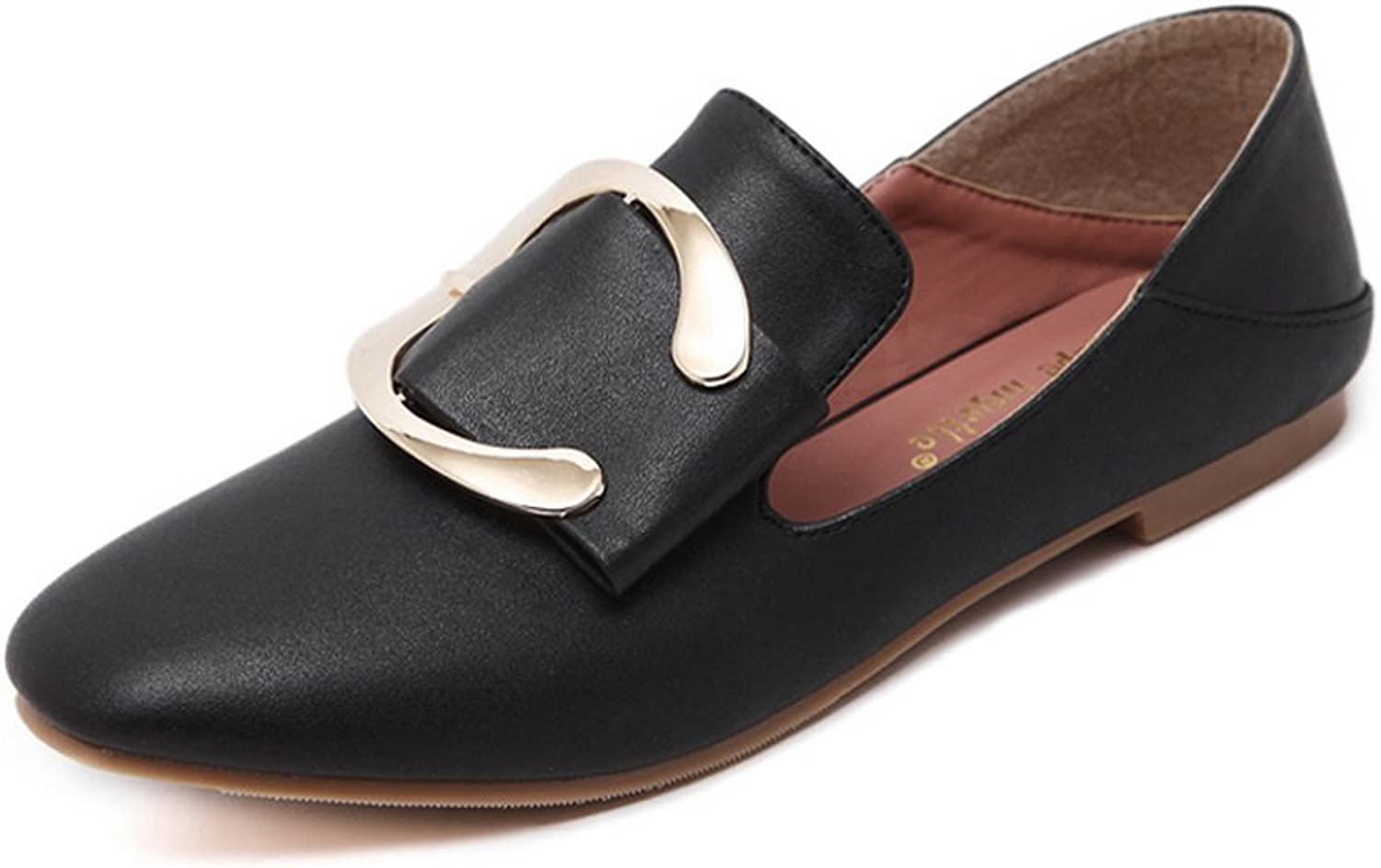 1TO9 Womens Buckle Square-Toe No-Closure Black Urethane Flats shoes - 5 B(M) US