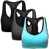 MIRITY Women Racerback Sports Bras - High Impact Workout Gym Activewear Bra Pack of 3 Color,Black+dgrey+blue,M Fit 32D 32DD 34C 34D 36A 36B 36C