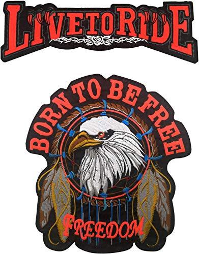 Juego de parches de moto para motocicleta con bordado grande, con parches personalizados, con diseño de Born to Be Free Live to Ride para ropa MC Chaleco Chaquetas Mochilas