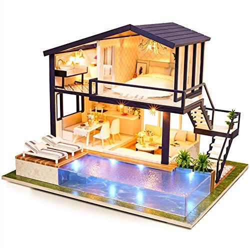 Fsolis Casa de Muñecas en Miniatura de Bricolaje con Mueble, Casa en Miniatura de Madera 3D con Cubierta Antipolvo y Movimiento Musical, Kit de Regalo Creativo de Casas para Muñecas A66