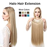 SARLA Straight Halo Hair Extensions Synthetic Hairpieces Long Secret Extension 22' Hidden Wire Crown Headband (M02,16H613 Dirty Blonde)