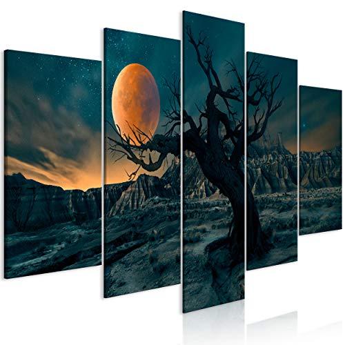 decomonkey Bilder Landschaft 200x100 cm 5 Teilig Leinwandbilder Bild auf Leinwand Wandbild Kunstdruck Wanddeko Wand Wohnzimmer Wanddekoration Deko Begre Baum Mond