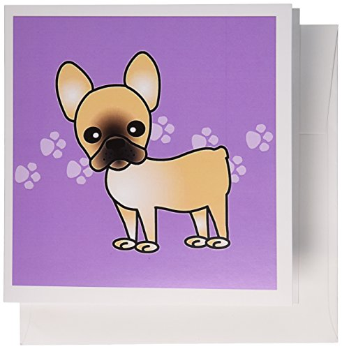 3dRose Greeting Cards, Cute Black Masked Fawn Cream French Bulldog Purple with Pawprints, Set of 6 (gc_25345_1)