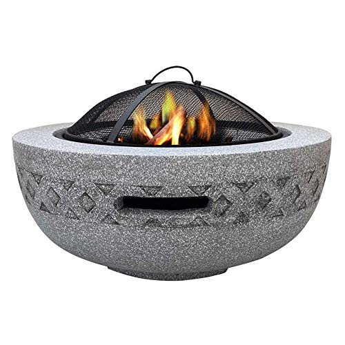 YAMMY Fire Bowls For Garden, Fire Pit with BBQ Grill Shelf for Garden and Patio Magnesium Oxide Material Grill Camping Bowl BBQ With Poke(bbq)