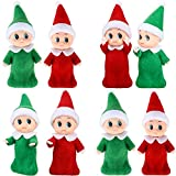 8 Pieces Baby Christmas Elf Doll Baby Twins Elves Boy and Girl Xmas Twins Dolls Christmas Miniature Accessories, Red and Green for Xmas Decorations, Stocking Stuffers and Advent Calendars