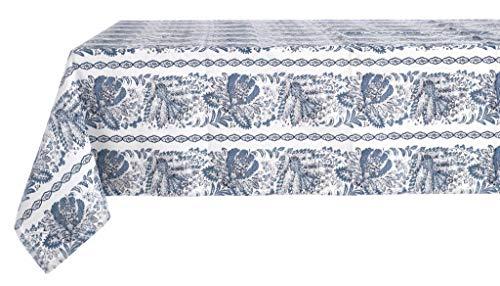 Blanc Mariclo Nappe imprimée Denim Collection 140 x 180 en Coton