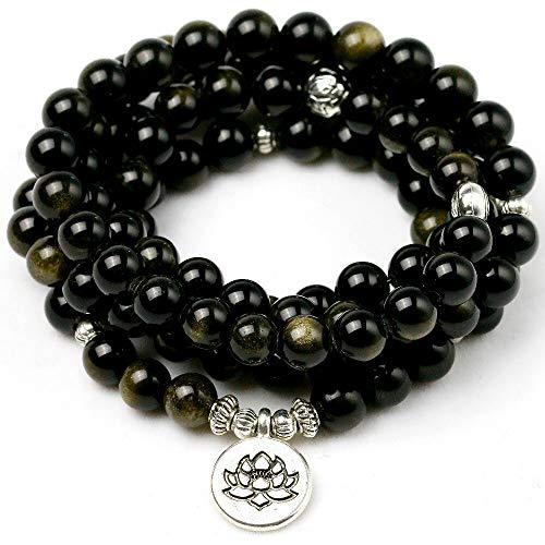 Natural Gold Obsidian Stone Yoga Balancing Reiki Healing Lucky Charm Bracelet Meditation Elastic Bracelets Male Jewelry