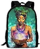Mochila Escolar,Paquete Ajustable Colegio Casual Unisex Unisex Hombro Bolsas de Libros n Mujeres Tribales Afro Cabello Verde Bolso para computadora portátil de Arte Negro Al Aire Libre Dayback Niños