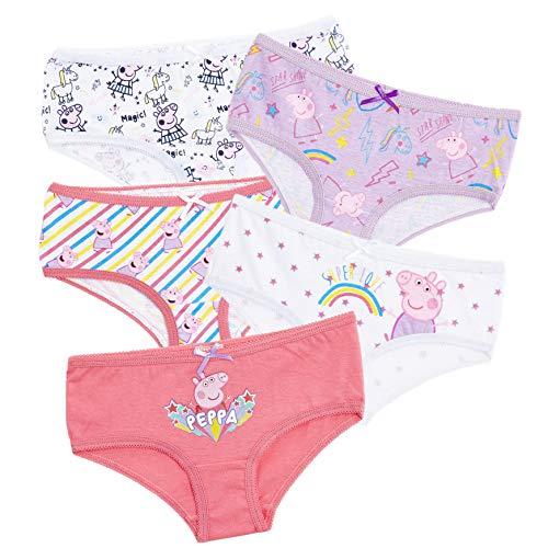 Peppa Pig Peppa Wutz Unterhosen, Unterwäsche Mädchen, Top-Qualität Material Baumwolle Baby Schlüpfer, 5er Stück Packung mit 5 Gemischte Designs, Geeignet für Kleinkind Mädchen (2/3 Ans)