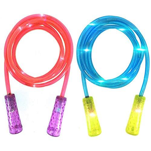 Hughdy Springseil Kinder - Leuchten Springseil blinkend Farbwechsel Springseil Buntes Licht Spaß Spielzeug mit Geschenkbox 2 Stück LED