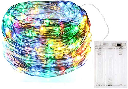 BOLWEO Battery Operated Fairy Christmas String Lights, 5M/16.4Ft 50LEDs Dimmable Fairy Lights for Indoor Outdoor Home Christmas Tree Decoration,Rainbow