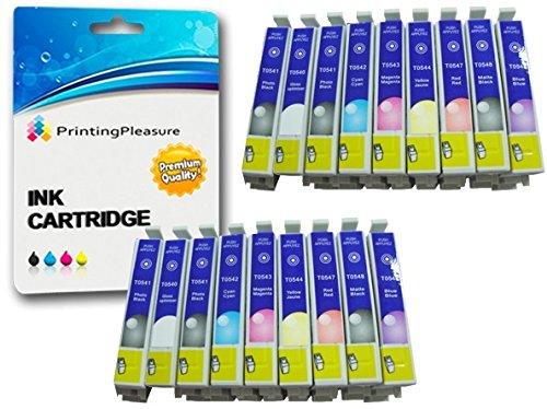 18 Tintenpatronen kompatibel zu T0540-T0549 für Epson Stylus Photo R800 R1800 - Gloss Optimizer/Foto Schwarz/Cyan/Magenta/Gelb/Rot/Matt Schwarz/Blau, hohe Kapazität
