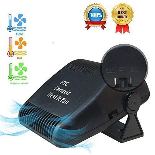 lesgos Auto Heizung Defroster, Schnelle Heizung, die schnell abkühlt, entfrostet Defogger 12V 150W Selbstheizung 2 in 1 beweglichem Auto-Heizungs-Fan mit faltendem Griff (Black 1)