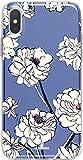 LA COQUERIE - Custodia per Telefono Cellulare in Silicone, Motivo: Fiore, Colore: Blu