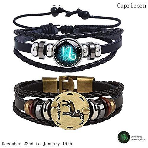 KJFUN 2 Stks/Set 12 Sterrenbeeld Armbanden Lichtgevende Lederen Dierenriem Horoscoop Gevlochten Armband Mannen Vrouwen Sieraden Cadeau