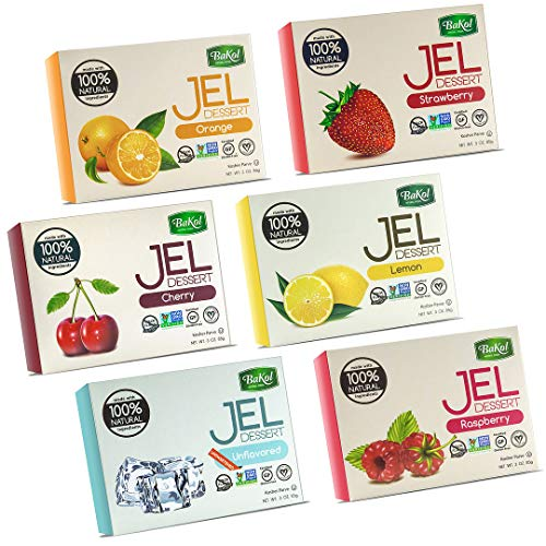 Bakol Jel Dessert - All Natural Vegan Dessert Mix - Kosher - Halal - No Artificial Sweeteners Flavors or Colors – Set Of All 6 Flavors - (Orange, Strawberry, Raspberry, Lemon, Cherry, Unflavored)