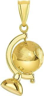 قلادة الكرة الأرضية الدوارة من الذهب الأصفر عيار 14 قيراط