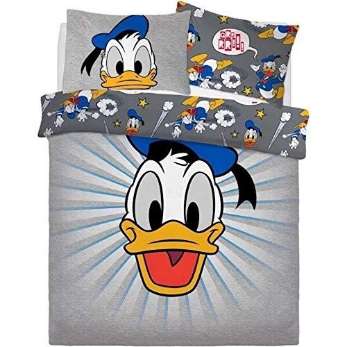 El Pato Donald - Juego de cama reversible diseño Graphic (Doble) (Gris)