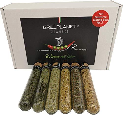 Grillplanet Gin Gewürze Geschenk Tasting Box 2 im Karton Botanicals Set