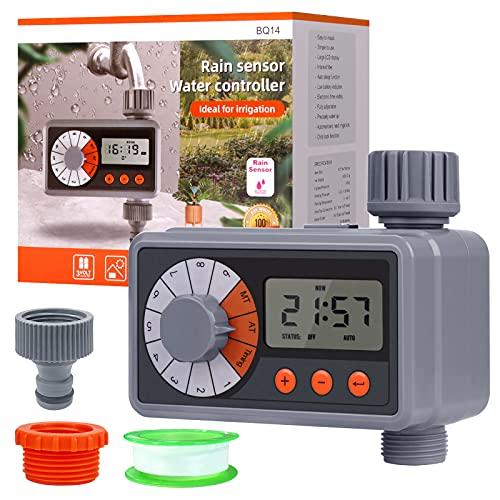 Lanlelin Centralina Irrigazione con Nastro Filettato, 9 Programmi di Irrigazione, Sensazione di Pioggia Intelligente Timer Irrigazione, IP64 Impermeabile Durevole, per Prati da Giardino ECC.