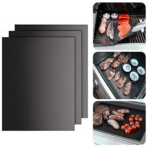 EIIUHIAHS Wiederverwendbare grillschale ohne locher,BBQ Grillmatte,Wiederverwendbare grillmatten für gasgrill,Backmatte und BBQ Antihaft Grillmatte für Fleisch, Fisch und Gemüse (3PCS, 40 * 33cm)