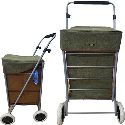 Eagle Einkaufstrolley mit 4 Rädern, faltbar, aus Segeltuch/Veloursleder, 65l Fassungsvermögen Suede Green + Brown