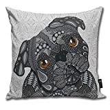 Emonye Cute Black Pug Pillow Cover, 18 x 18 Inch Winter Holiday Farmhouse Cotton Cushion Case Decoration for Sofa Couch