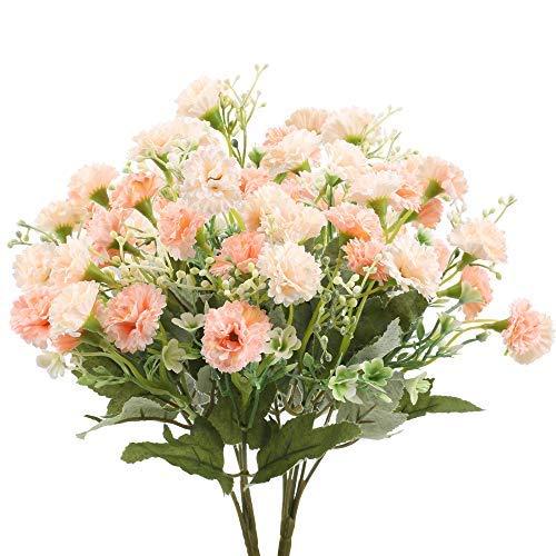 HUAESIN 2pcs Künstliche Blumen Rosa Kunstblumen Frühling Seidenblumen Plastikblumen Künstliche Dekoblumen für Balkon Garten Büro Küche Hochzeit Dekoration