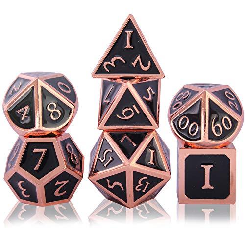 Schleuder DND Würfel Set Polyedrische Würfelset Zinklegierung Metall, Dice Set für Dungeons and Dragons RPG D&D Mathematik Lehre, D20, D12, 2 Stück D10 (00-90 und 0-9), D8, D6 und D4 (Copper - Black)