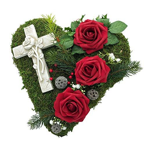 Grabgesteck Grabschmuck Grabaufleger Moosherz Grabherz Kreuz Trauerherz Grab Herz Gesteck Rosen (30cm- 3 rote Rosen)