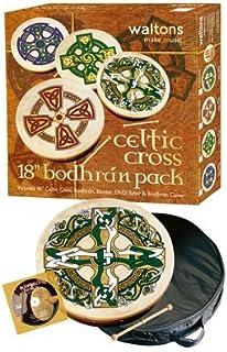 "Waltons Bodhrán 18 ""(سلتیک صلیب) - ساز ایرلندی دست ساز - ترد و تیز موسیقی - ضرب و شتم چوب سخت چوب شامل W / خرید"