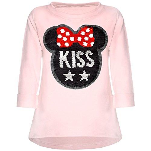 Kinder Mädchen Wende-Pailletten Sweatshirt Langarm Shirt 21724 Rosa Größe 116