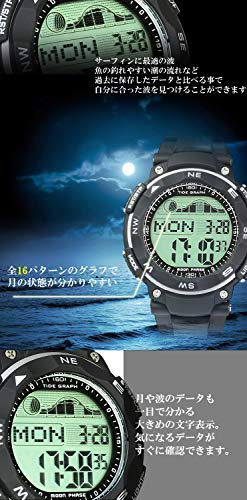[ラドウェザー]ダイバーズ腕時計タイドグラフ100m防水デジタル時計(ブラック(通常液晶))