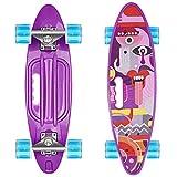 Skateboard 55cm/22inch para Principiantes Adultos y Niños, Mini Cruiser Retro Skateboard con All-in-One Skate T-Tool, Skateboard con 4 LED PU Ruedas
