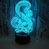 Snake 3D Lámpara de mesa color 3D Visual Night Light Sala de estar Decoración interior 3D Night Light
