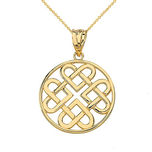 Women's 10k Yellow Gold Endless Celtic Knot Heart Infinity Pendant Necklace, 18'
