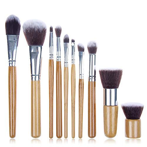 Pinceaux de maquillage femmes 11 PCS Bambou Maquillage Pinceaux Professionnel Ensemble Vegan Cruauté Libre Fondation Mélanger Blush Poudre Kabuki Brosses Doux (Color : 02, Size : Libre)