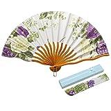 JSSWB Mini Handmade Black Silk Folding Fan with Blooming Flowers (MINI002)