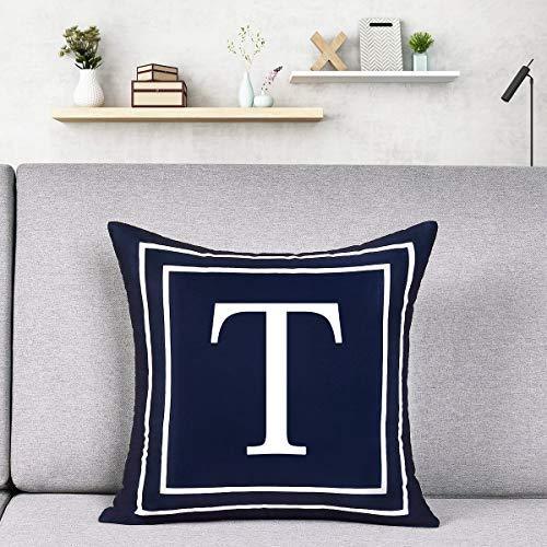Alishomtll Alphabet Letter Cushion Covers, Pillow Case Soft Plush Pillow Decorative Pillow Cover, 18x18 Inch Cover Cushion Case Dark Blue 45 x 45cm (T)