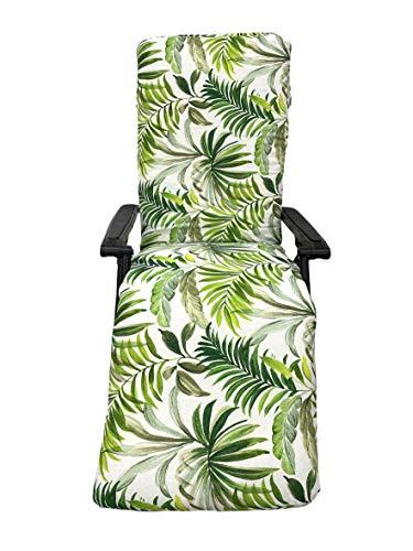 TIENDA EURASIA Cojín para Tumbona de Jardín - Estampados Tropicales - Cojín Acolchado Relleno de Fibra - Medidas 120-180 x 50 x 10 cm - Ideal para tumbonas, sillas y hamacas. (Tropical 8, 180 cm)