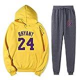 Chándal deportivo para hombre Chaqueta y pantalones de 2 piezas Lakers Kobe # 24 Sudadera con capucha de contraste de manga larga Traje deportivo Chándal completo Uniforme de baloncesto-XX-grande