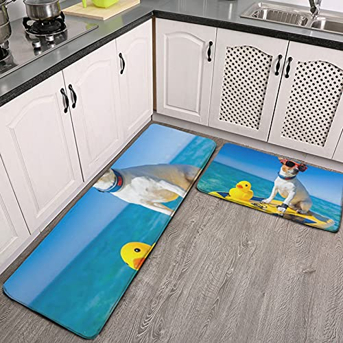 Juego de Alfombra de Cocina de 2 Piezas,tapetes de Cocina,Perro surfeando en una Tabla de Surf con Gafas de Sol,Alfombrilla súper Absorbente para baño de Cocina
