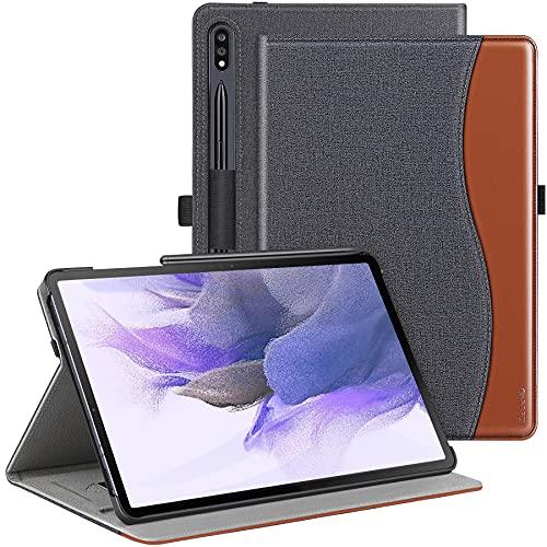 ZtotopHülles Hülle für Samsung Galaxy Tab S7 FE, Premium PU Leder Klapp Stand Cover für 12,4 Zoll Galaxy Tab S7 FE 2021/ Galaxy Tab S7 Plus 2020, mit Stifthalter und Mehreren Blickwinkeln, Denim Schwarz
