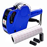 MX5500 Pricing Tag Gun with 5150 pcs White Label Gun Stickers & 3 Extra Inker Rollers, Pricing Label Gun, 8 Digits Retail Pricing Gun and Labels for Grocery Store, Food (Blue)