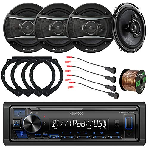"Kenwood Bluetooth USB AUX AM/FM Stereo Digital Media Receiver, Pioneer 6.5"" 3-Way 320 Watt Car Audio Speakers - 2 Pairs, Speaker Wire Harness Compatible with Select GM Vehicles, Adapters, Wire"