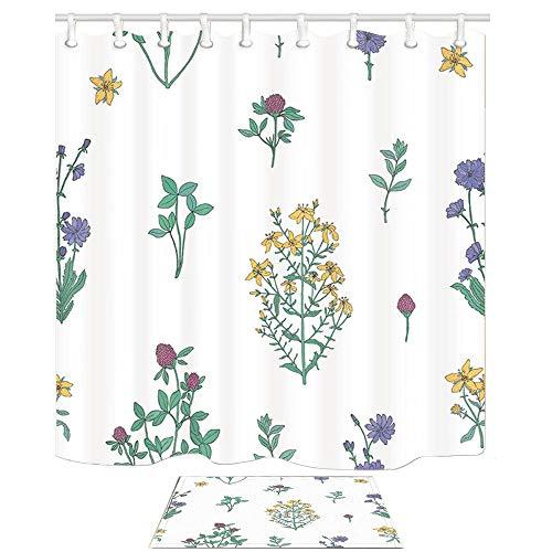 tttttt Conjunto de Cortinas de Ducha de decoración de Flores, Arte Pintado a Mano de Flores de Hierbas medicinales, Cortinas de baño