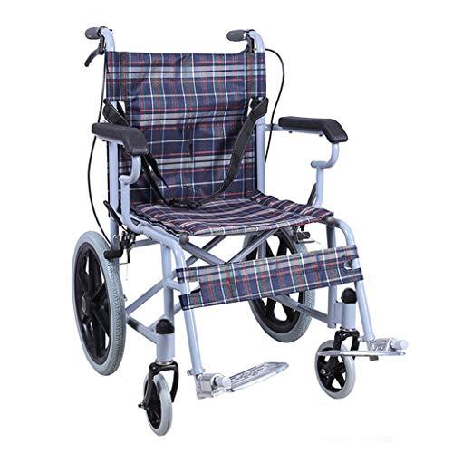 Einkaufstrolleys Rollstuhl Rollstuhl für ältere Personen Klappbarer Leichter Rollstuhl Rollstuhl für behinderte Rollstuhl Trolley Kann 100 kg tragen (Color : Blue, Size : 46 * 89 * 69cm)
