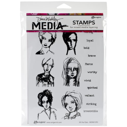 Ranger Dina Wakley Media Cling Stamps, 6 by 9-Inch, All The Gals